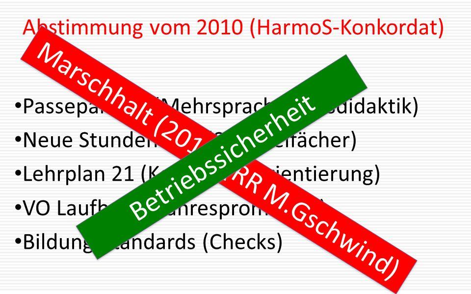 Abstimmung vom 2010 (HarmoS-Konkordat) Passepartout (Mehrsprachigkeitsdidaktik) Neue Stundentafel (Sammelfächer) Lehrplan 21 (Kompetenzorientierung) VO Laufbahn (Jahrespromotion) Bildungsstandards (Checks) Marschhalt (2015) (RR M.Gschwind) Betriebssicherheit