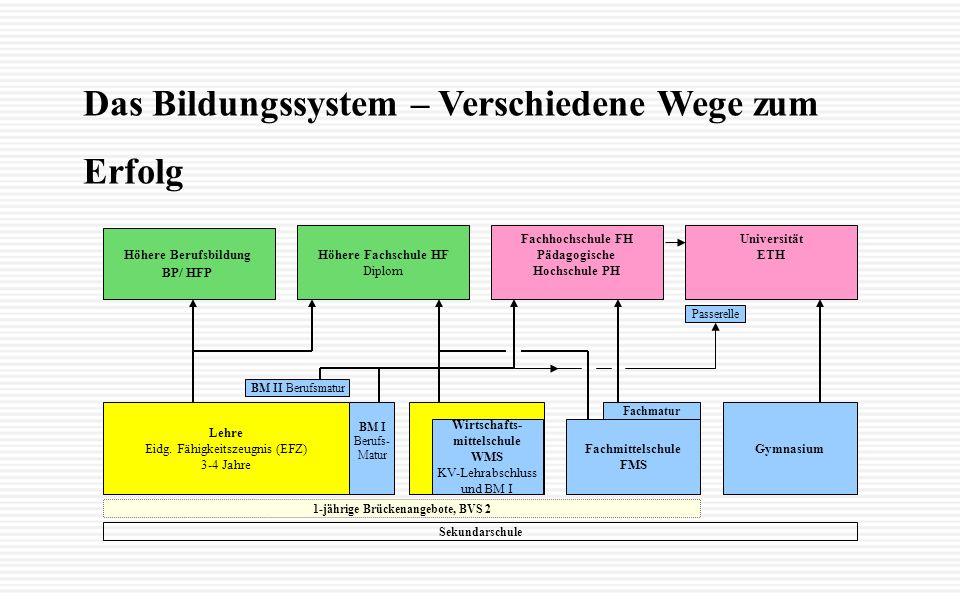 Fachmittelschule FMS Gymnasium Wirtschafts- mittelschule WMS KV-Lehrabschluss und BM I Lehre Eidg.
