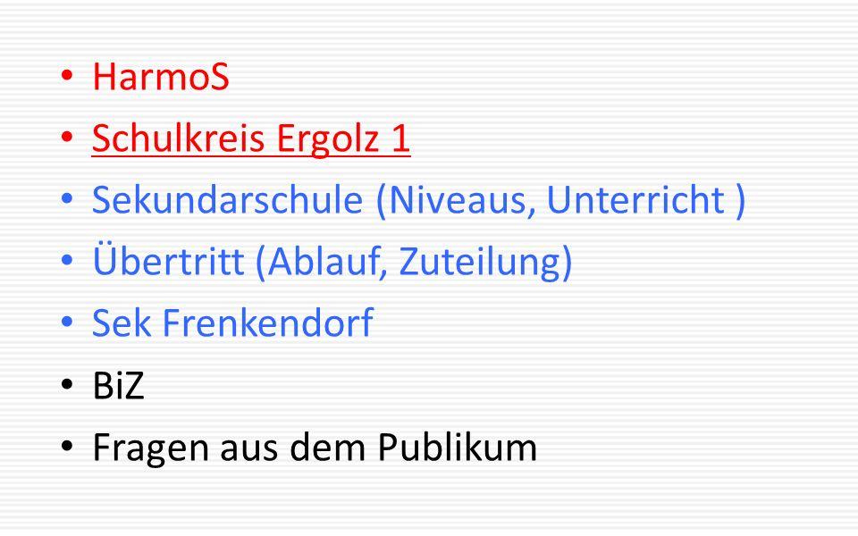 HarmoS Schulkreis Ergolz 1 Sekundarschule (Niveaus, Unterricht ) Übertritt (Ablauf, Zuteilung) Sek Frenkendorf BiZ Fragen aus dem Publikum