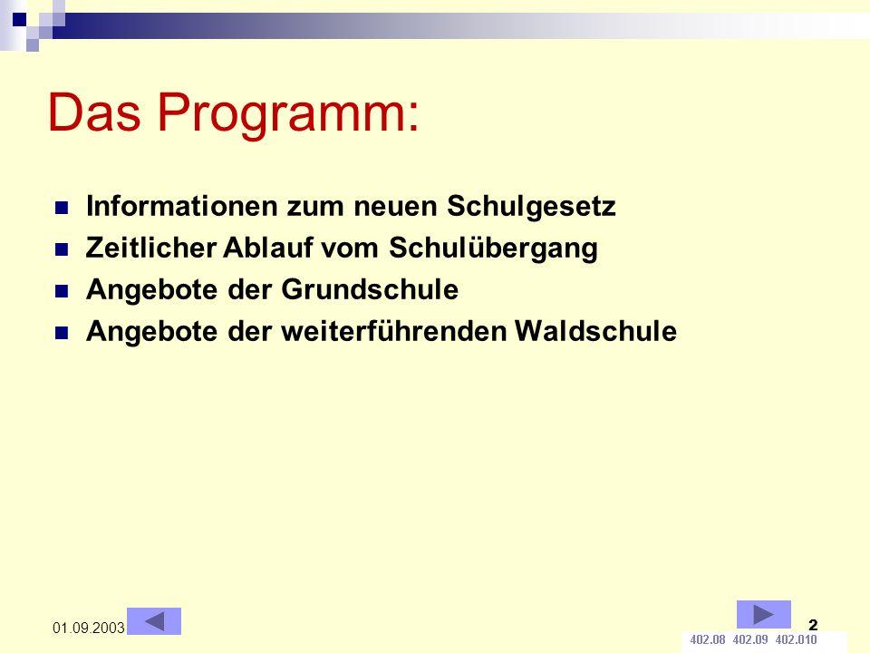 2 01.09.2003 Das Programm: Informationen zum neuen Schulgesetz Zeitlicher Ablauf vom Schulübergang Angebote der Grundschule Angebote der weiterführend