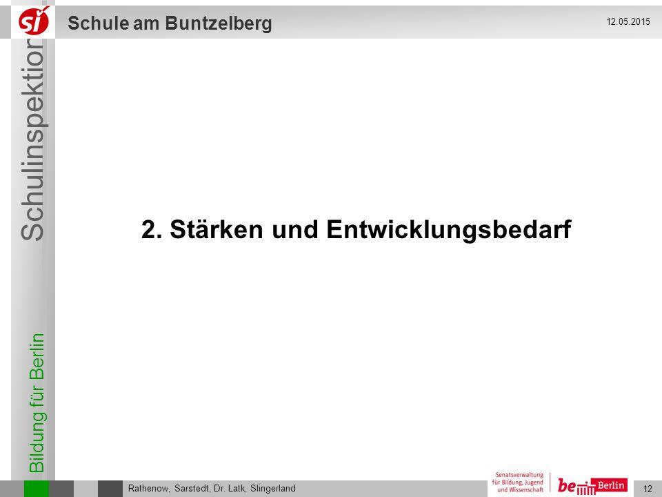 Bildung für Berlin Schulinspektion Schule am Buntzelberg 12 Rathenow, Sarstedt, Dr. Latk, Slingerland 12.05.2015 2. Stärken und Entwicklungsbedarf
