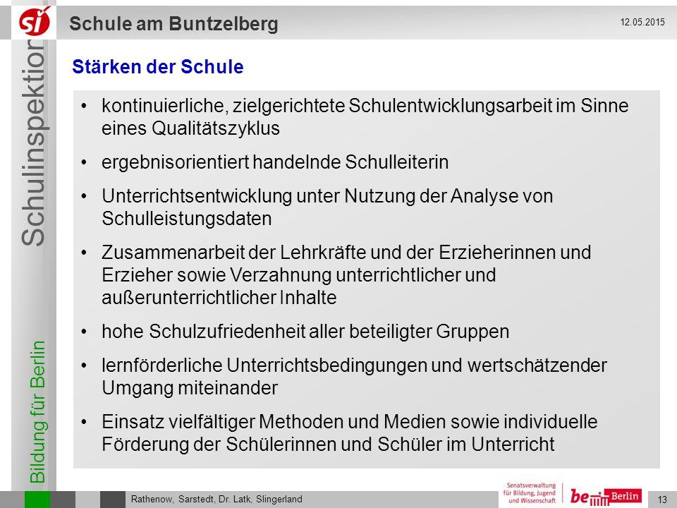 Bildung für Berlin Schulinspektion Schule am Buntzelberg 13 Rathenow, Sarstedt, Dr. Latk, Slingerland 12.05.2015 Stärken der Schule kontinuierliche, z
