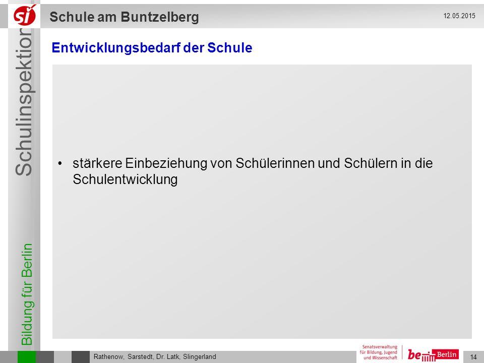 Bildung für Berlin Schulinspektion Schule am Buntzelberg 14 Rathenow, Sarstedt, Dr. Latk, Slingerland 12.05.2015 Entwicklungsbedarf der Schule stärker