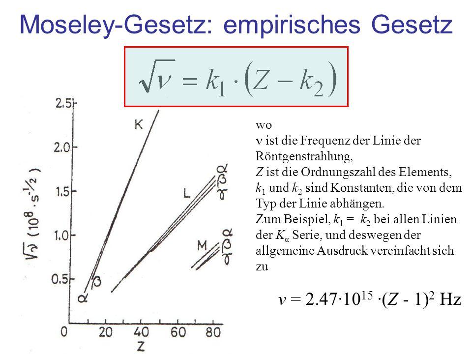 Moseley-Gesetz: empirisches Gesetz wo ist die Frequenz der Linie der Röntgenstrahlung, Z ist die Ordnungszahl des Elements, k 1 und k 2 sind Konstanten, die von dem Typ der Linie abhängen.