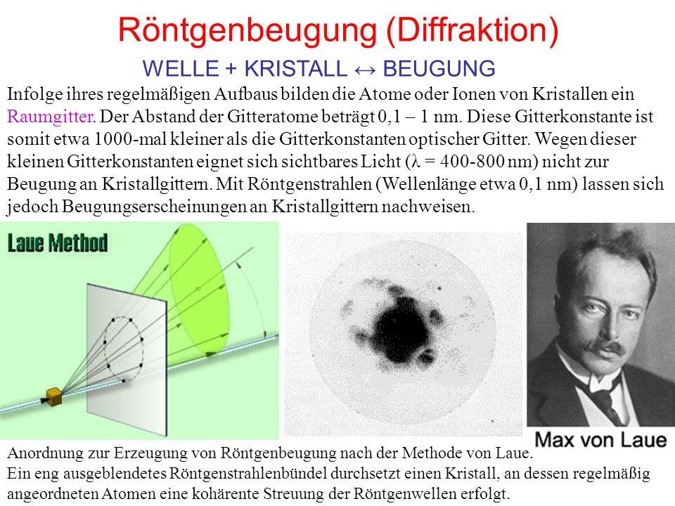 Röntgenbeugung (Diffraktion) Infolge ihres regelmäßigen Aufbaus bilden die Atome oder Ionen von Kristallen ein Raumgitter. Der Abstand der Gitteratome