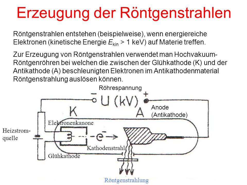 Erzeugung der Röntgenstrahlen Röntgenstrahlen entstehen (beispielweise), wenn energiereiche Elektronen (kinetische Energie E kin > 1 keV) auf Materie