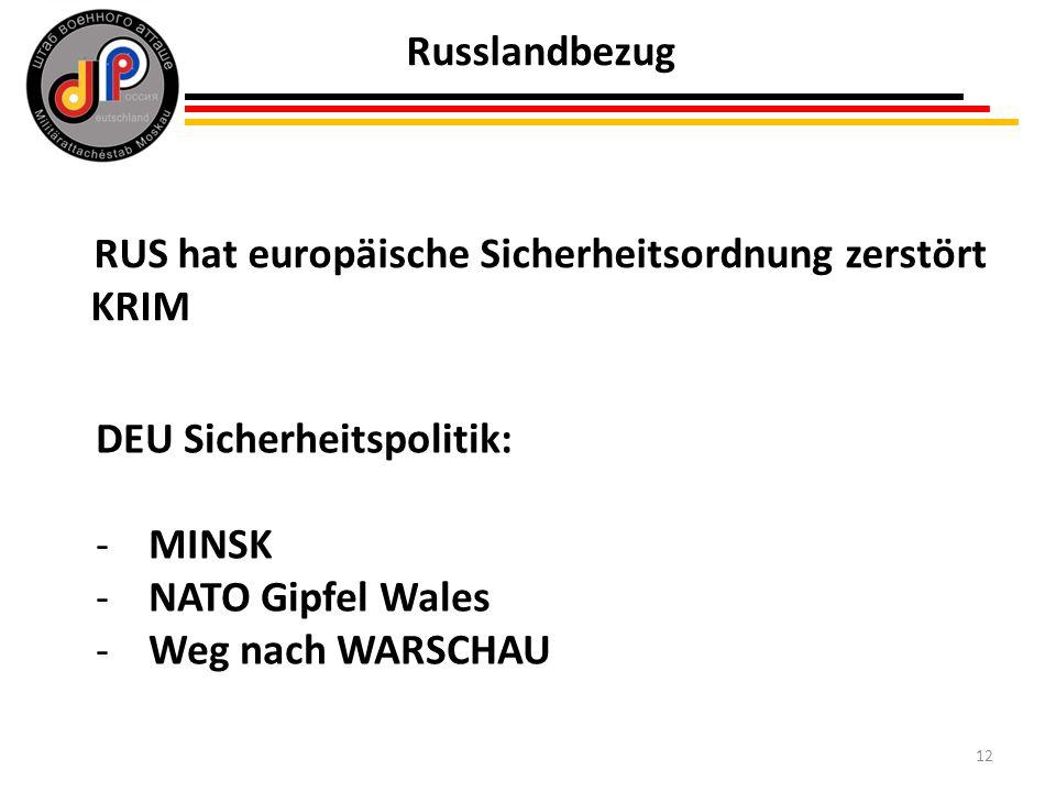 12 Russlandbezug RUS hat europäische Sicherheitsordnung zerstört KRIM DEU Sicherheitspolitik: -MINSK -NATO Gipfel Wales -Weg nach WARSCHAU