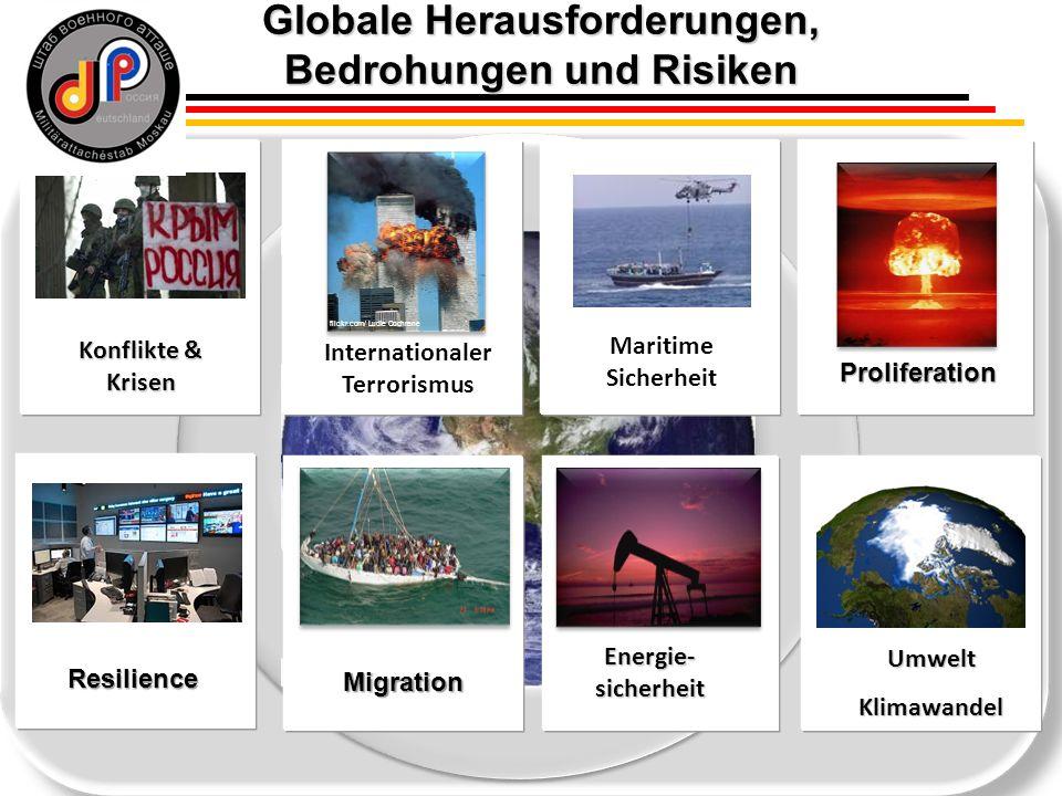 5 Proliferation Energie- sicherheit UmweltKlimawandel © NASA Konflikte & Krisen Migration flickr.com/ Ludie Cochrane Internationaler Terrorismus Resilience Maritime Sicherheit Globale Herausforderungen, Bedrohungen und Risiken