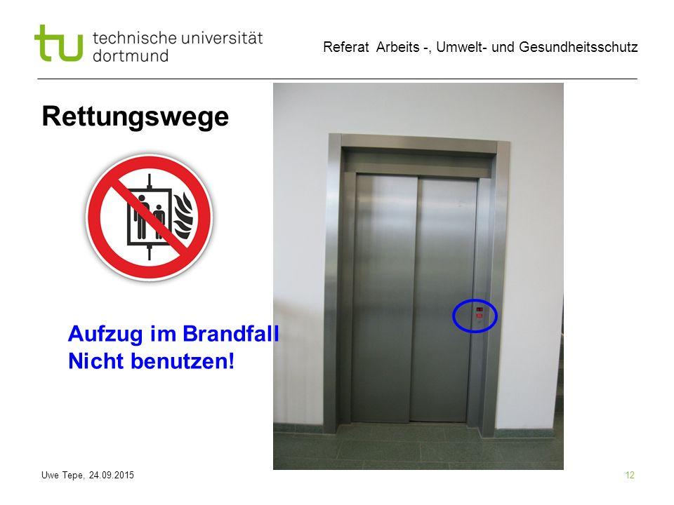 Uwe Tepe, 24.09.2015 Referat Arbeits -, Umwelt- und Gesundheitsschutz 12 Rettungswege Aufzug im Brandfall Nicht benutzen!
