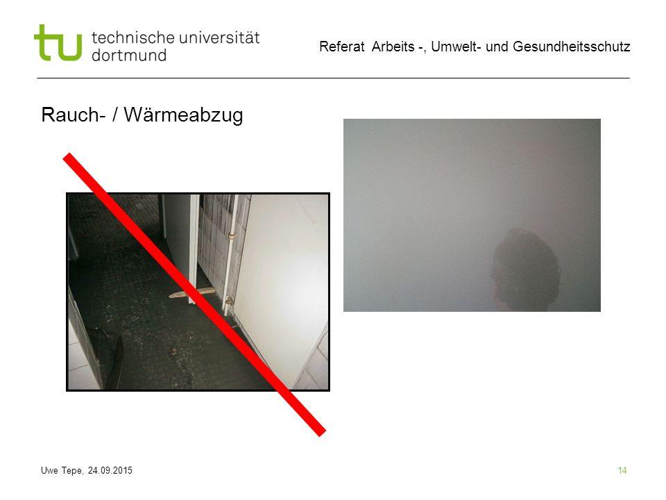 Uwe Tepe, 24.09.2015 Referat Arbeits -, Umwelt- und Gesundheitsschutz Rauch- / Wärmeabzug 14