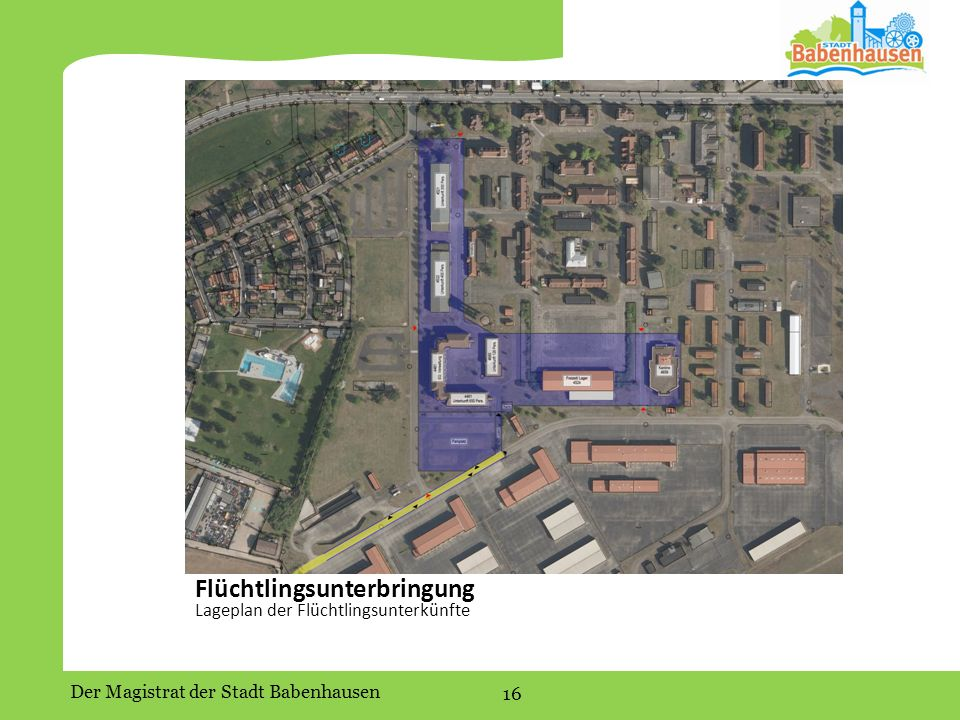 Der Magistrat der Stadt Babenhausen 16 Flüchtlingsunterbringung Lageplan der Flüchtlingsunterkünfte