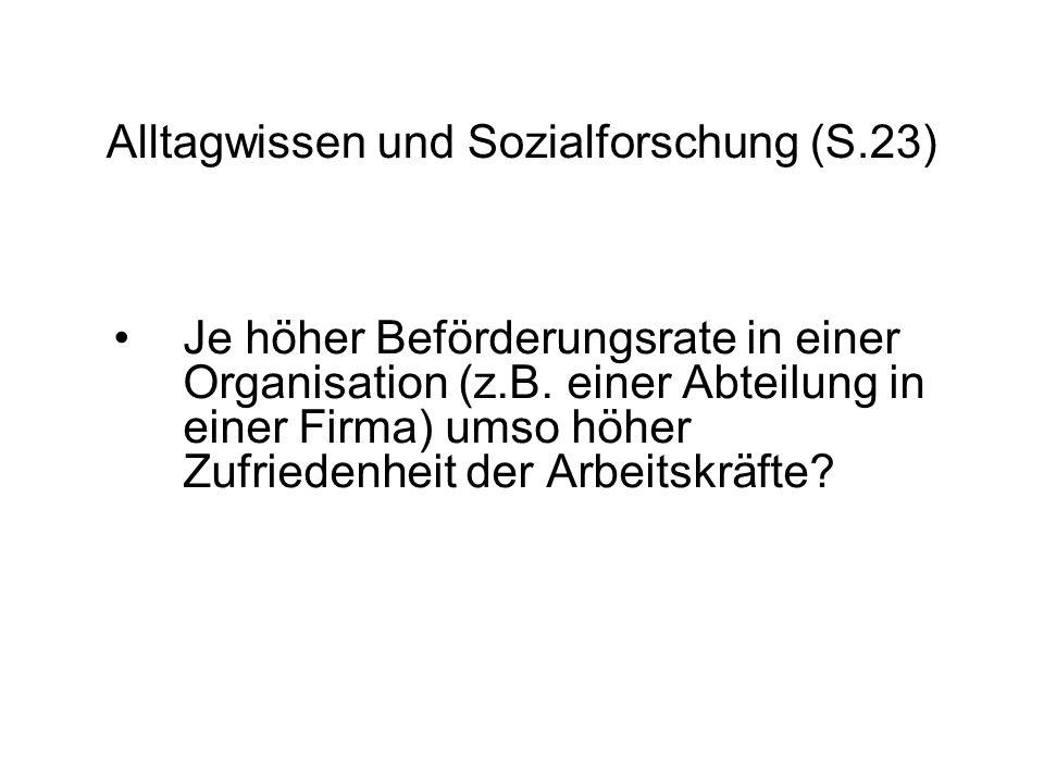 Alltagwissen und Sozialforschung (S.23) Je höher Beförderungsrate in einer Organisation (z.B.