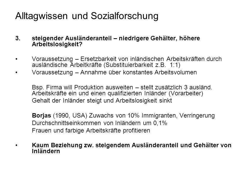 Alltagwissen und Sozialforschung 3.steigender Ausländeranteil – niedrigere Gehälter, höhere Arbeitslosigkeit.