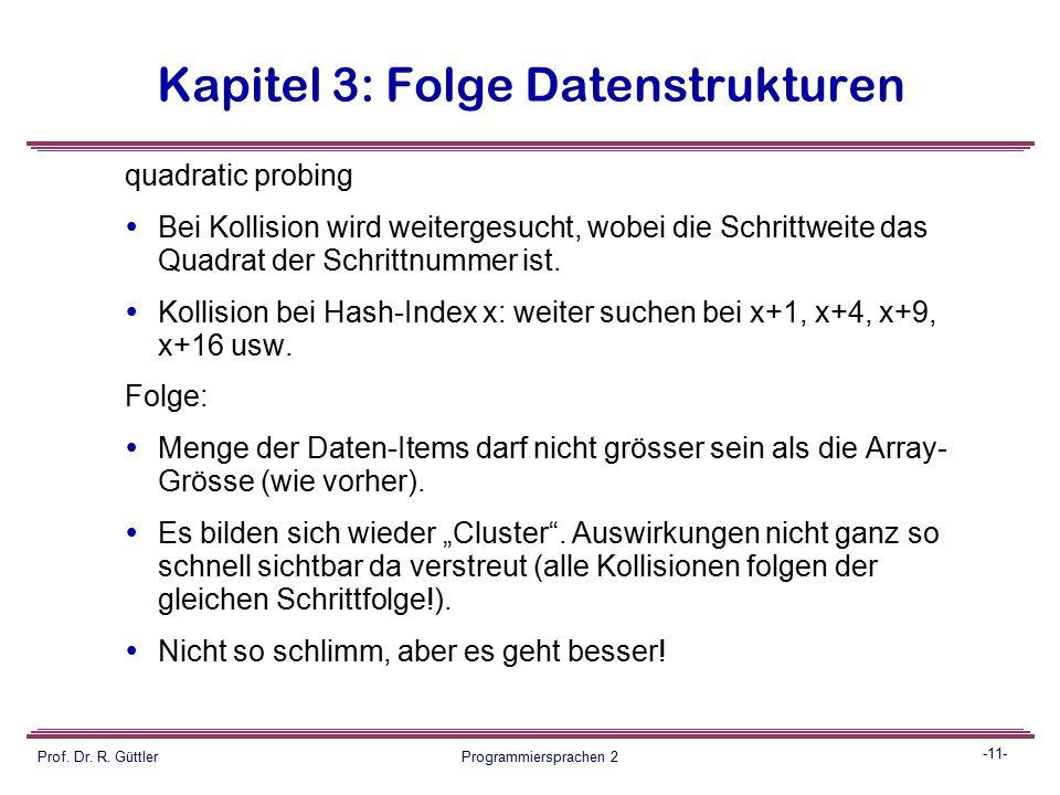 -10- Prof. Dr. R. Güttler Programmiersprachen 2 Kapitel 3: Folge Datenstrukturen linear probing (am Applet-Beispiel)  Bei Kollision wird mit Schrittw