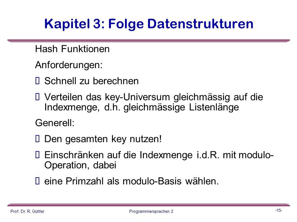 -14- Prof. Dr. R. Güttler Programmiersprachen 2 Kapitel 3: Folge Datenstrukturen Folgen:  Bei Chaining kann der Load-Factor > 1 werden, ohne dass sof