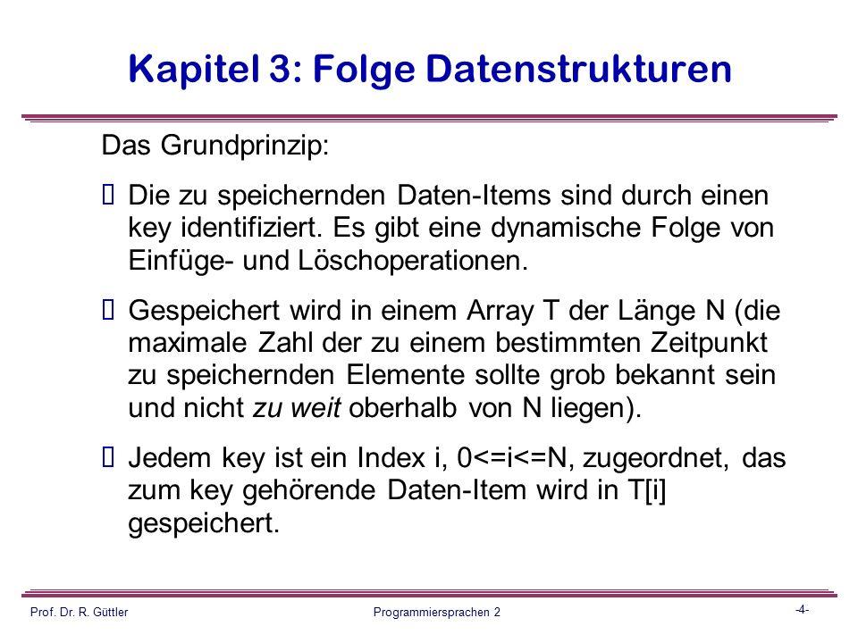 -3- Prof. Dr. R. Güttler Programmiersprachen 2 Kapitel 3: Folge Datenstrukturen Lösung: Hash Tables Eigenschaften (positiv und negativ)  Hash-Tables
