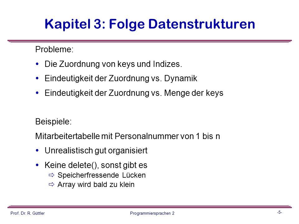 -4- Prof. Dr. R. Güttler Programmiersprachen 2 Kapitel 3: Folge Datenstrukturen Das Grundprinzip:  Die zu speichernden Daten-Items sind durch einen k
