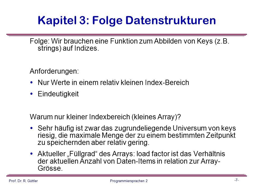 -6- Prof. Dr. R. Güttler Programmiersprachen 2 Kapitel 3: Folge Datenstrukturen Dictionnary  50.000 deutsche Wörter in einer Hauptspeicher- Datenstru