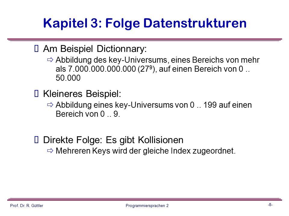 -7- Prof. Dr. R. Güttler Programmiersprachen 2 Kapitel 3: Folge Datenstrukturen Folge: Wir brauchen eine Funktion zum Abbilden von Keys (z.B. strings)