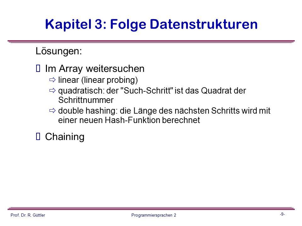 -8- Prof. Dr. R. Güttler Programmiersprachen 2 Kapitel 3: Folge Datenstrukturen  Am Beispiel Dictionnary:  Abbildung des key-Universums, eines Berei