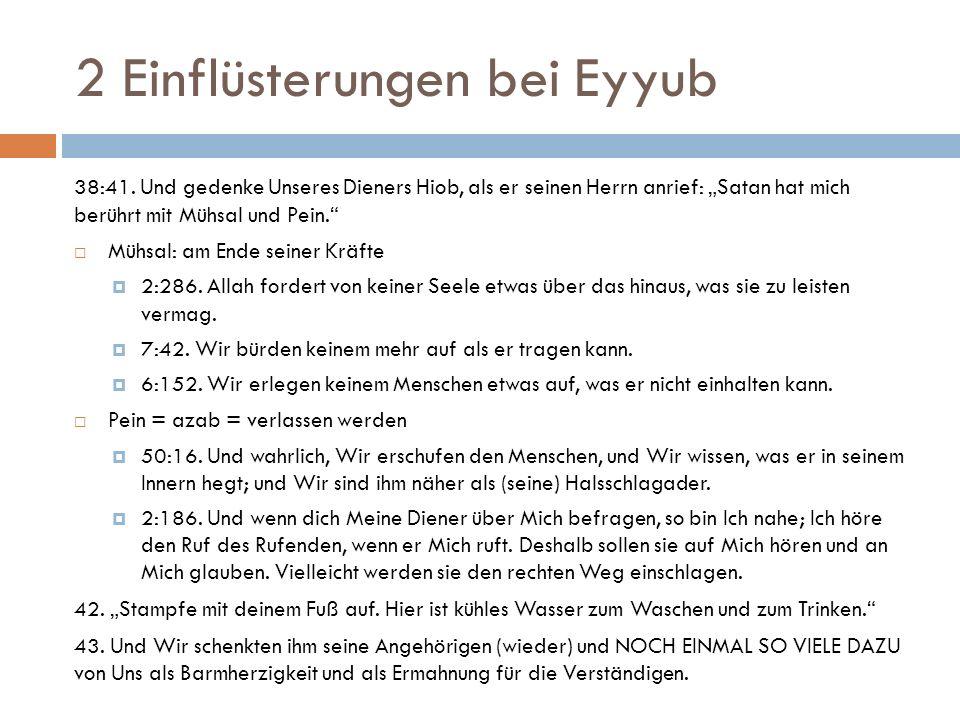 2 Einflüsterungen bei Eyyub 38:41.