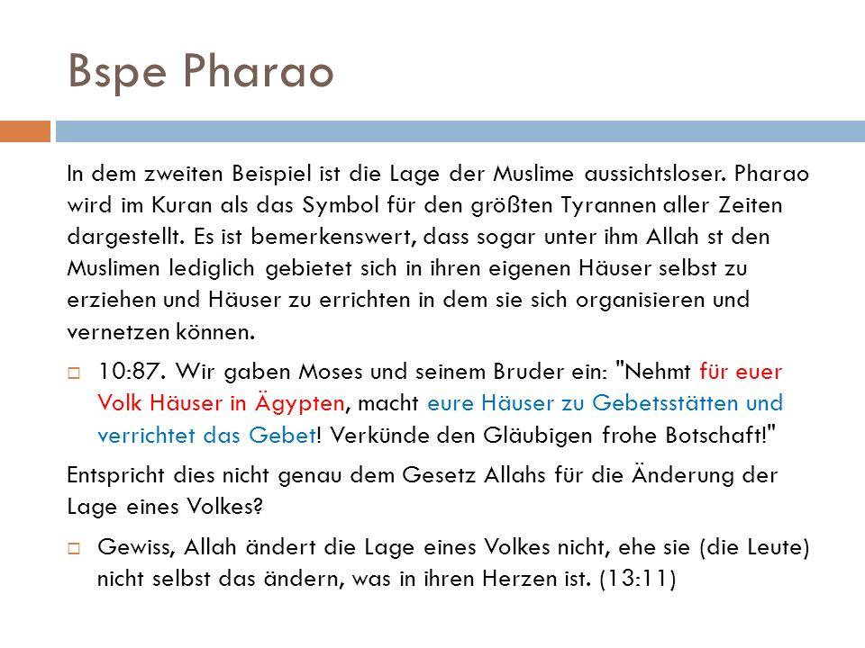 Bspe Pharao In dem zweiten Beispiel ist die Lage der Muslime aussichtsloser.