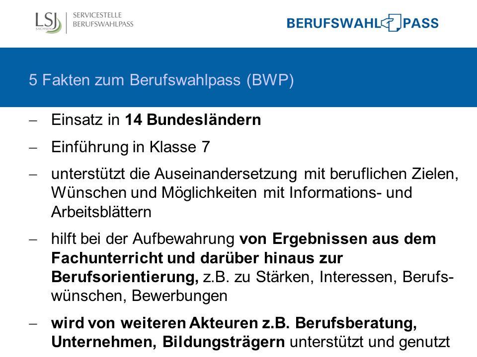 5 Fakten zum Berufswahlpass (BWP)  Einsatz in 14 Bundesländern  Einführung in Klasse 7  unterstützt die Auseinandersetzung mit beruflichen Zielen,