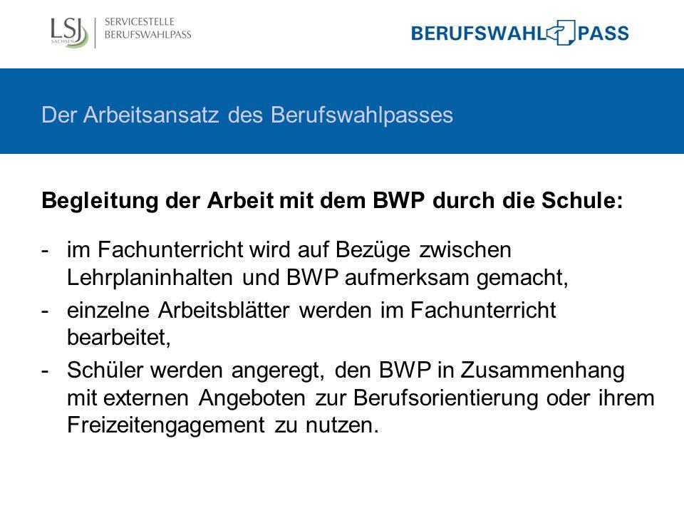 Begleitung der Arbeit mit dem BWP durch die Schule: -im Fachunterricht wird auf Bezüge zwischen Lehrplaninhalten und BWP aufmerksam gemacht, -einzelne