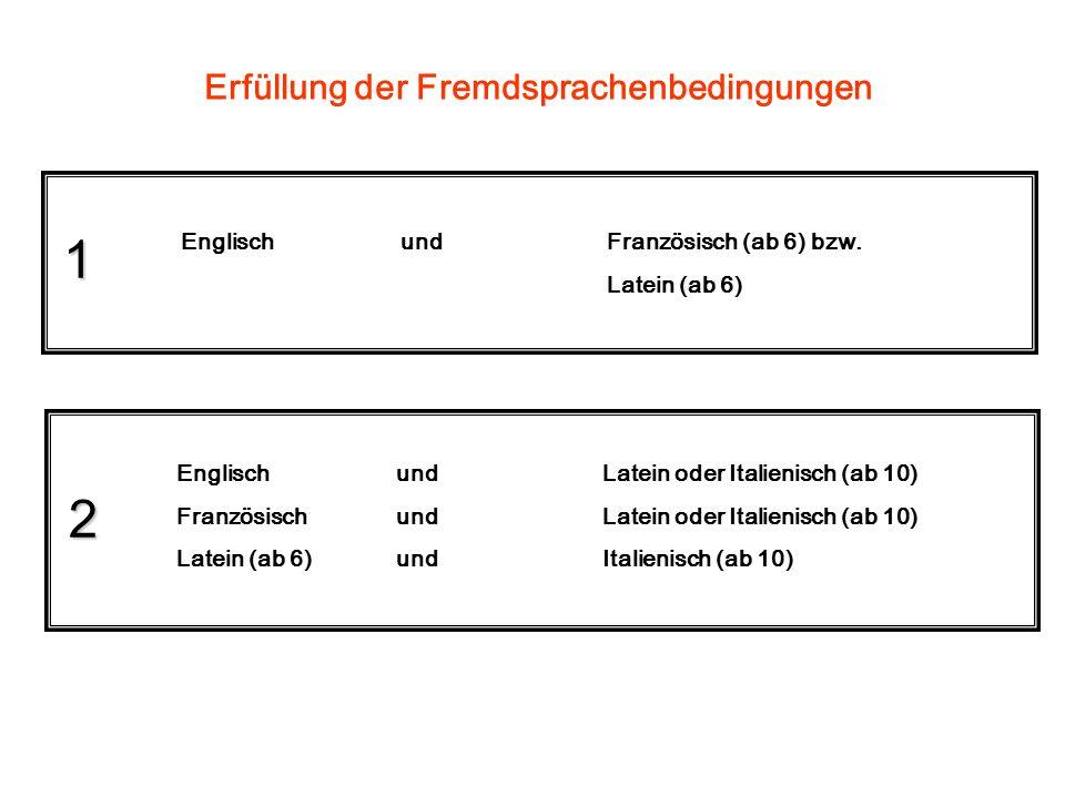 Erfüllung der Fremdsprachenbedingungen 1 2 Englisch undFranzösisch (ab 6) bzw.
