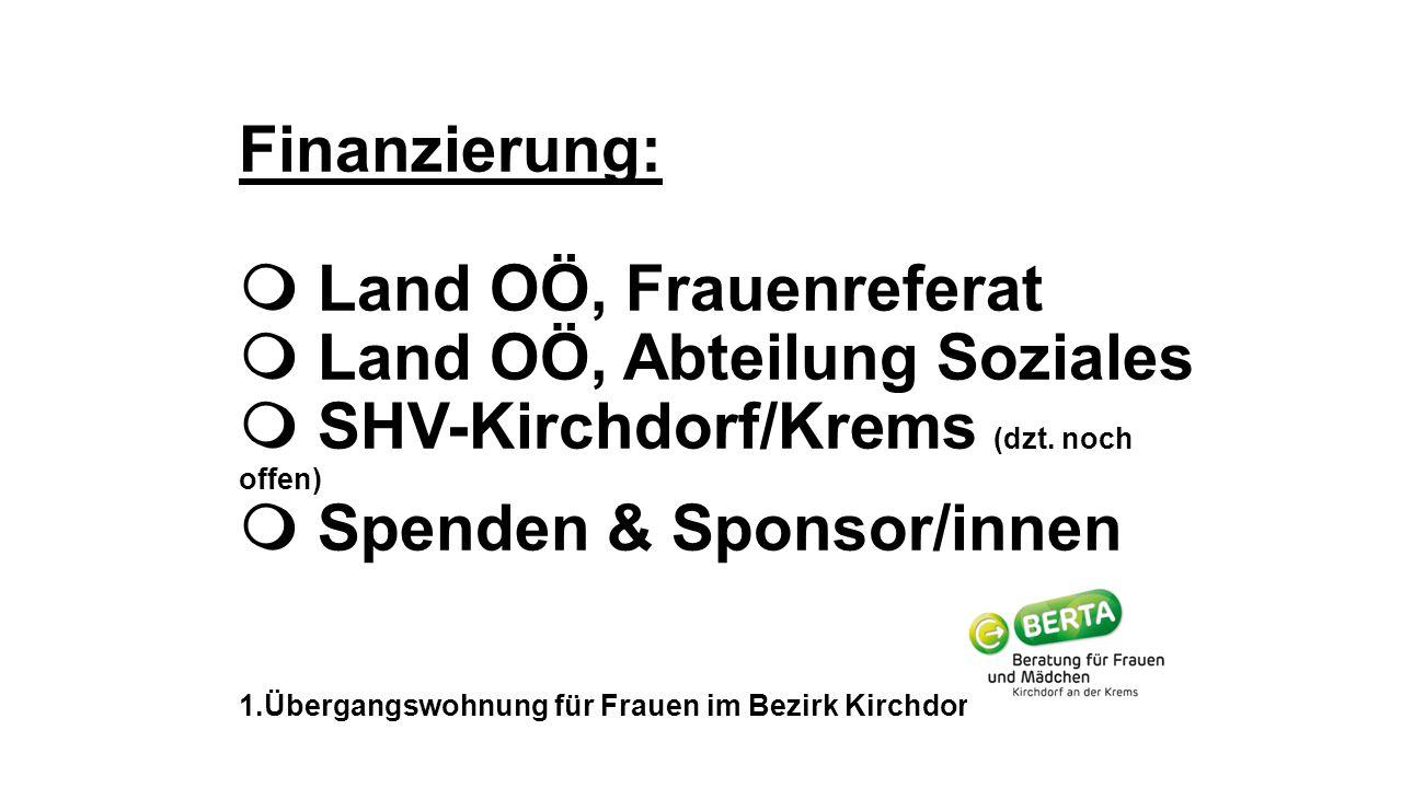Finanzierung:  Land OÖ, Frauenreferat  Land OÖ, Abteilung Soziales  SHV-Kirchdorf/Krems (dzt. noch offen)(noch offen)  Spenden & Sponsor/innen 1.Ü