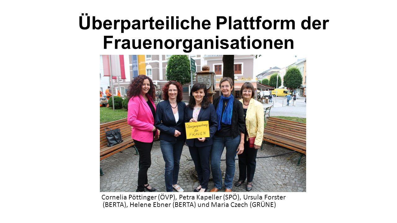 Überparteiliche Plattform der Frauenorganisationen Cornelia Pöttinger (ÖVP), Petra Kapeller (SPÖ), Ursula Forster (BERTA), Helene Ebner (BERTA) und Maria Czech (GRÜNE)