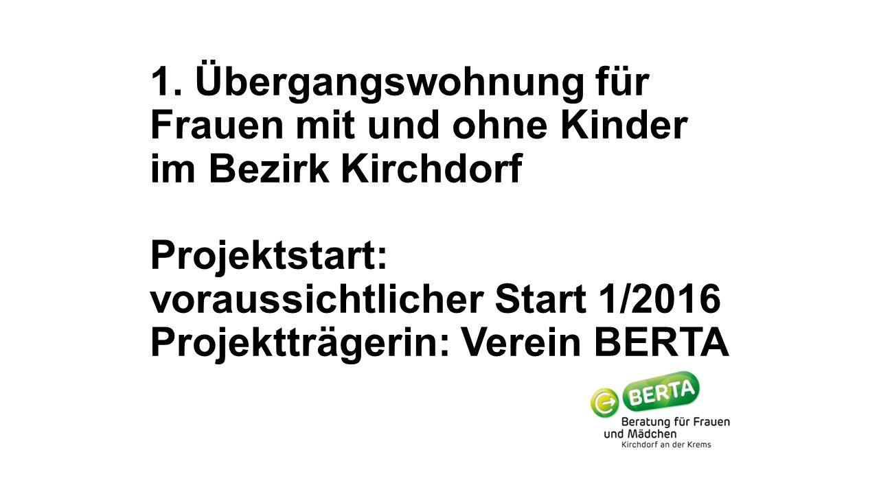 1. Übergangswohnung für Frauen mit und ohne Kinder im Bezirk Kirchdorf Projektstart: voraussichtlicher Start 1/2016 Projektträgerin: Verein BERTA