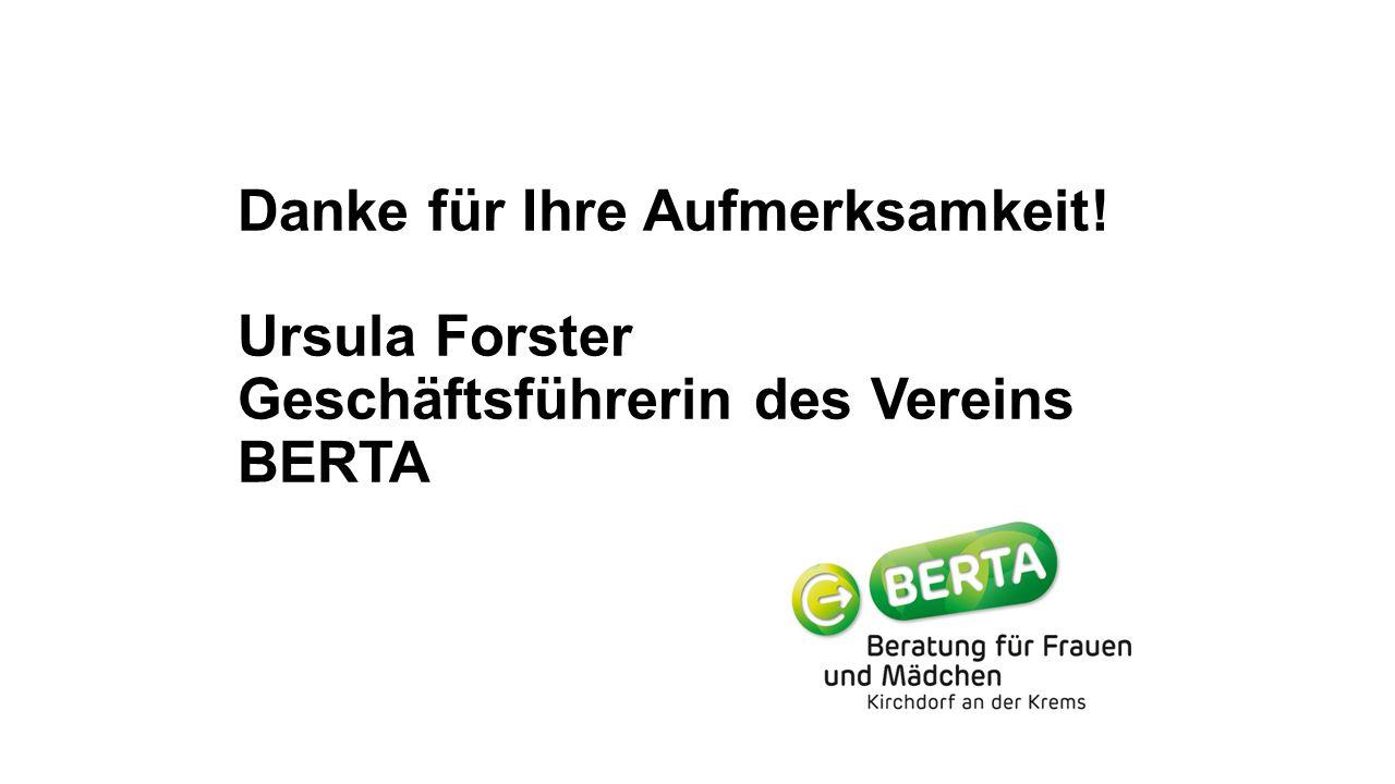 Danke für Ihre Aufmerksamkeit! Ursula Forster Geschäftsführerin des Vereins BERTA