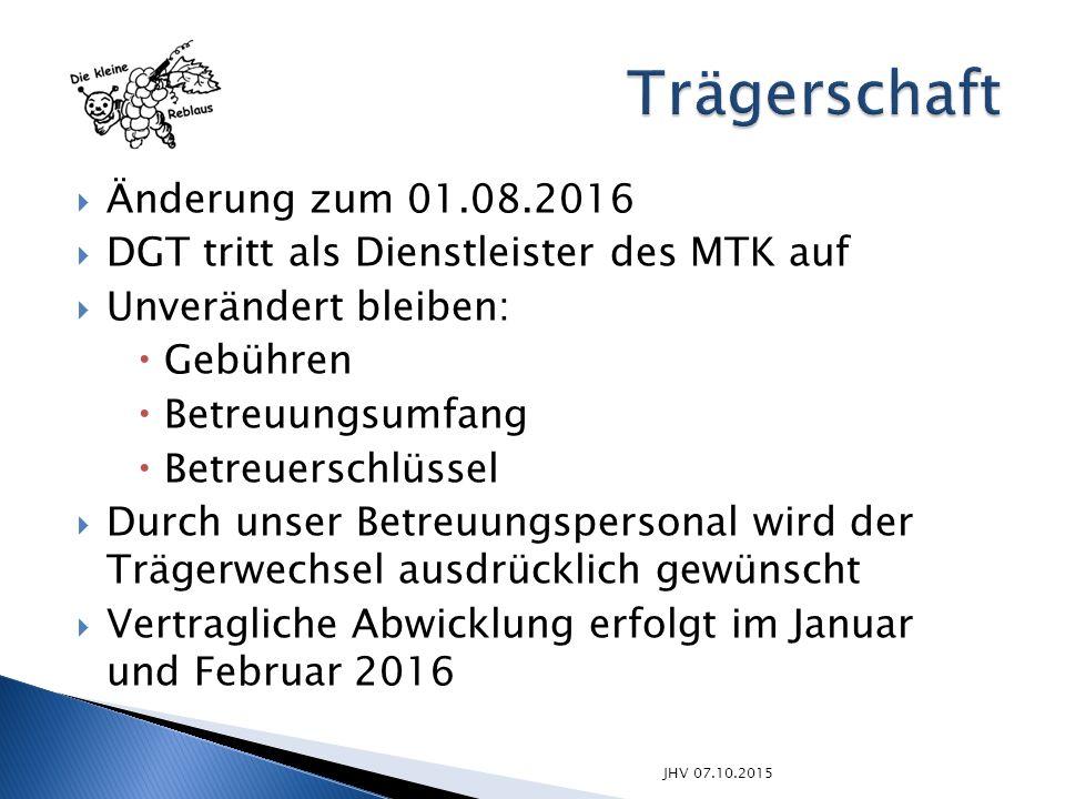 JHV 07.10.2015  Änderung zum 01.08.2016  DGT tritt als Dienstleister des MTK auf  Unverändert bleiben:  Gebühren  Betreuungsumfang  Betreuerschl