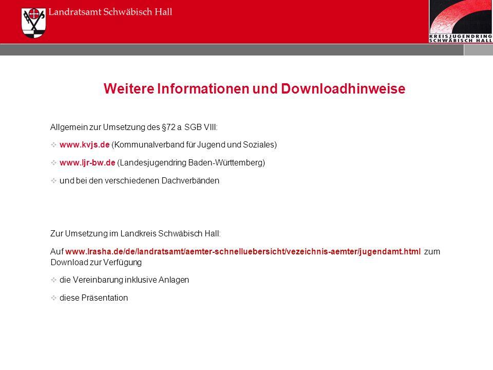 Weitere Informationen und Downloadhinweise Allgemein zur Umsetzung des §72 a SGB VIII:  www.kvjs.de (Kommunalverband für Jugend und Soziales)  www.l