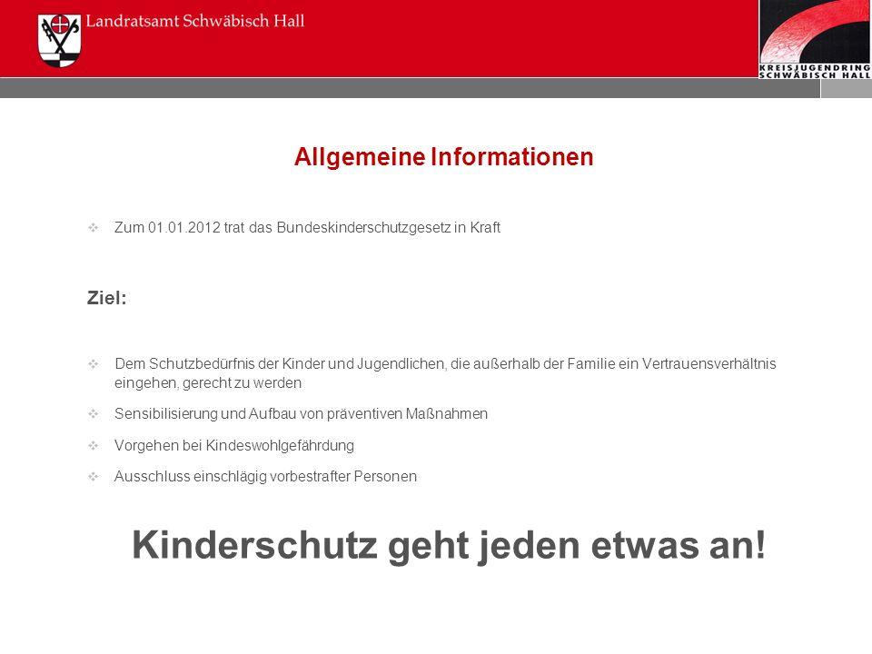 Allgemeine Informationen  Zum 01.01.2012 trat das Bundeskinderschutzgesetz in Kraft Ziel:  Dem Schutzbedürfnis der Kinder und Jugendlichen, die auße