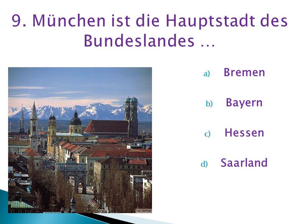 a) Brocken b) Zugspitze c) Elbrus d) Feldberg