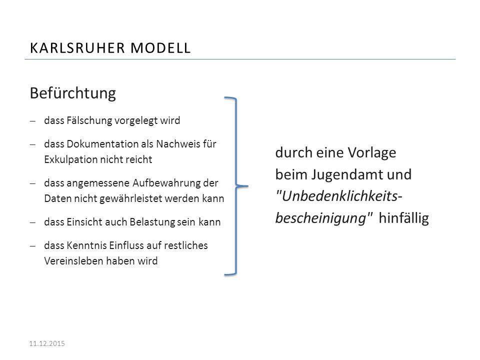 KARLSRUHER MODELL Befürchtung  dass Fälschung vorgelegt wird  dass Dokumentation als Nachweis für Exkulpation nicht reicht  dass angemessene Aufbew