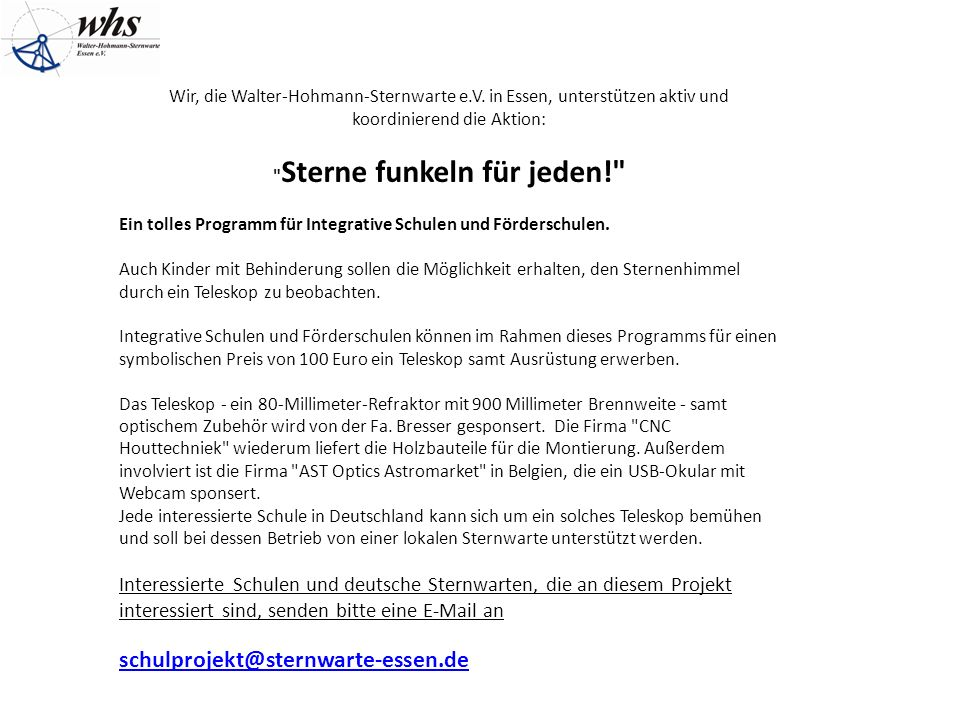 Wir, die Walter-Hohmann-Sternwarte e.V.