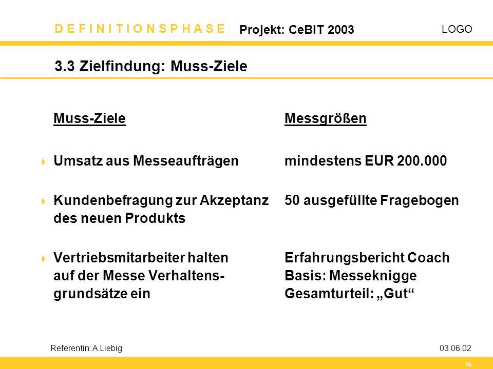 LOGO D E F I N I T I O N S P H A S E Projekt: CeBIT 2003 10 Referentin: A Liebig03.06.02 3.3 Zielfindung: Muss-Ziele Muss-ZieleMessgrößen  Umsatz aus