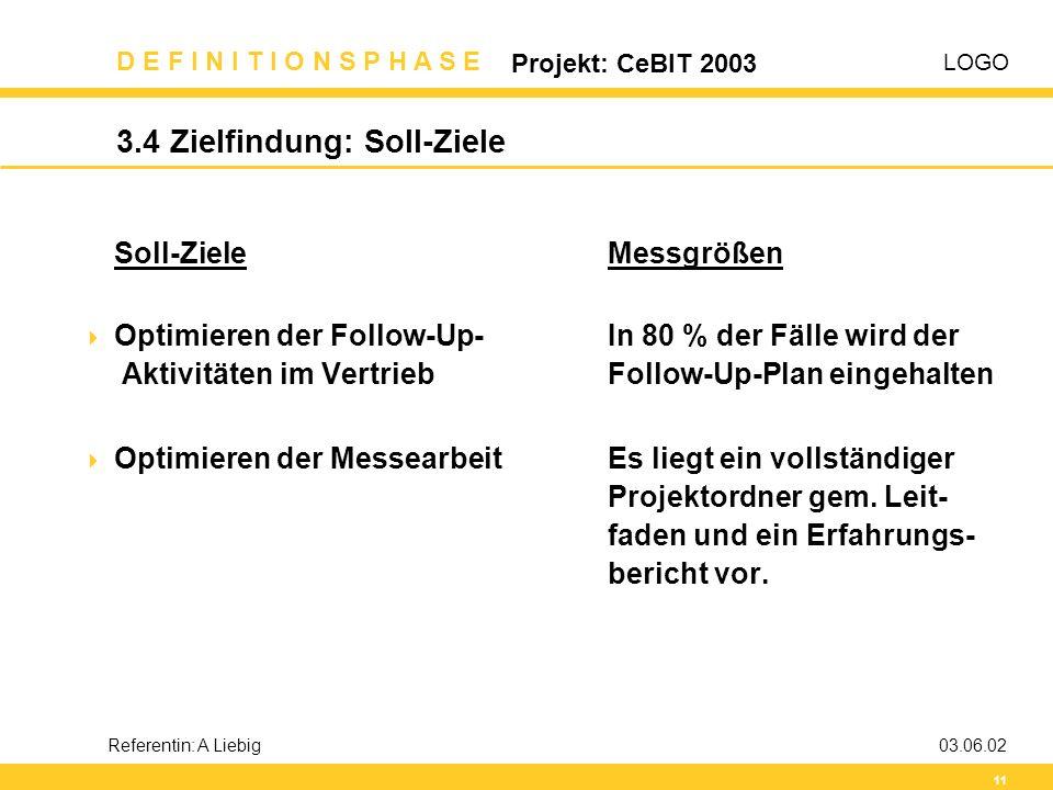 LOGO D E F I N I T I O N S P H A S E Projekt: CeBIT 2003 11 Referentin: A Liebig03.06.02 3.4 Zielfindung: Soll-Ziele Soll-ZieleMessgrößen  Optimieren
