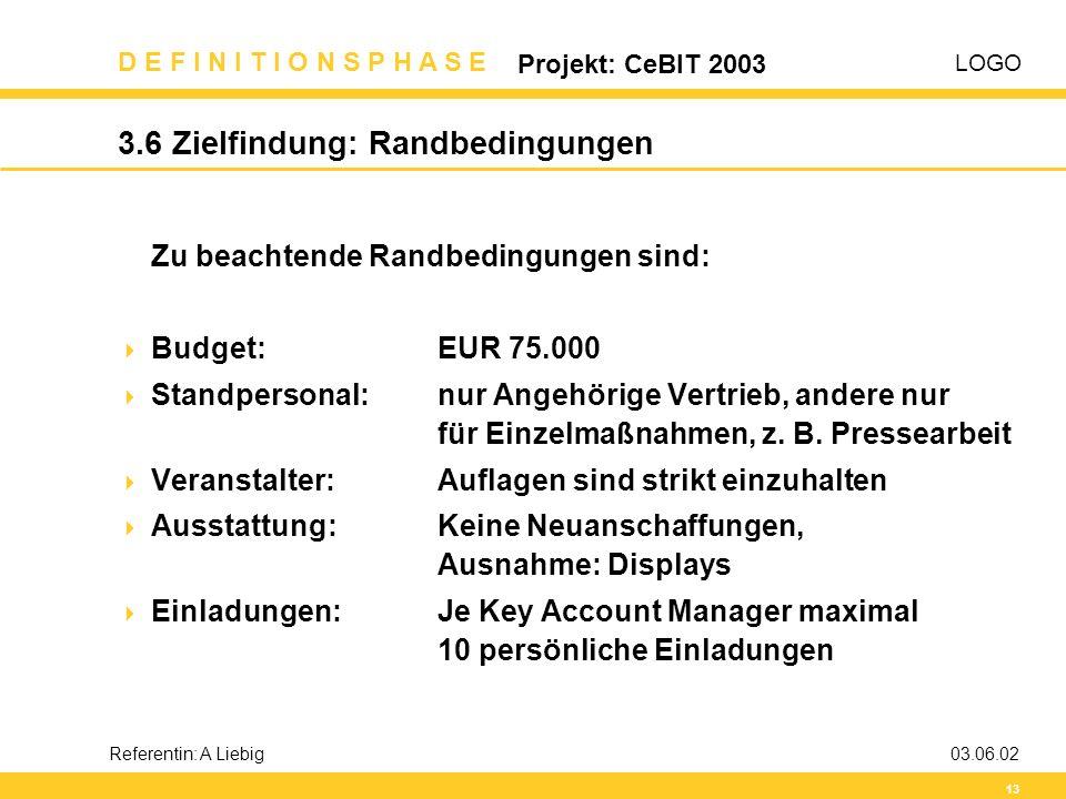 LOGO D E F I N I T I O N S P H A S E Projekt: CeBIT 2003 13 Referentin: A Liebig03.06.02 3.6 Zielfindung: Randbedingungen Zu beachtende Randbedingunge