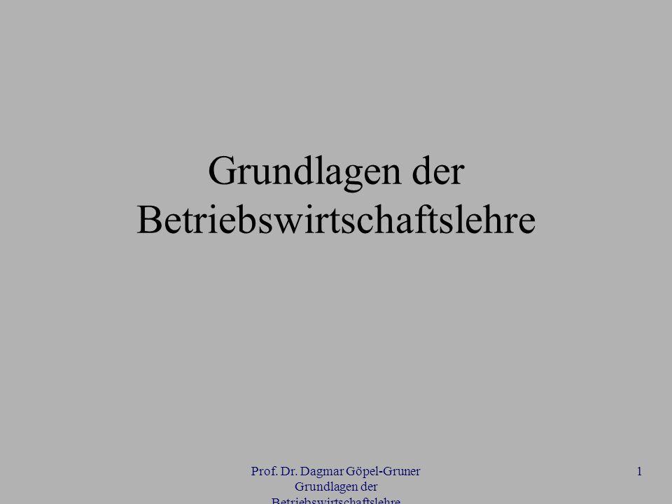 Prof. Dr. Dagmar Göpel-Gruner Grundlagen der Betriebswirtschaftslehre 1 Grundlagen der Betriebswirtschaftslehre