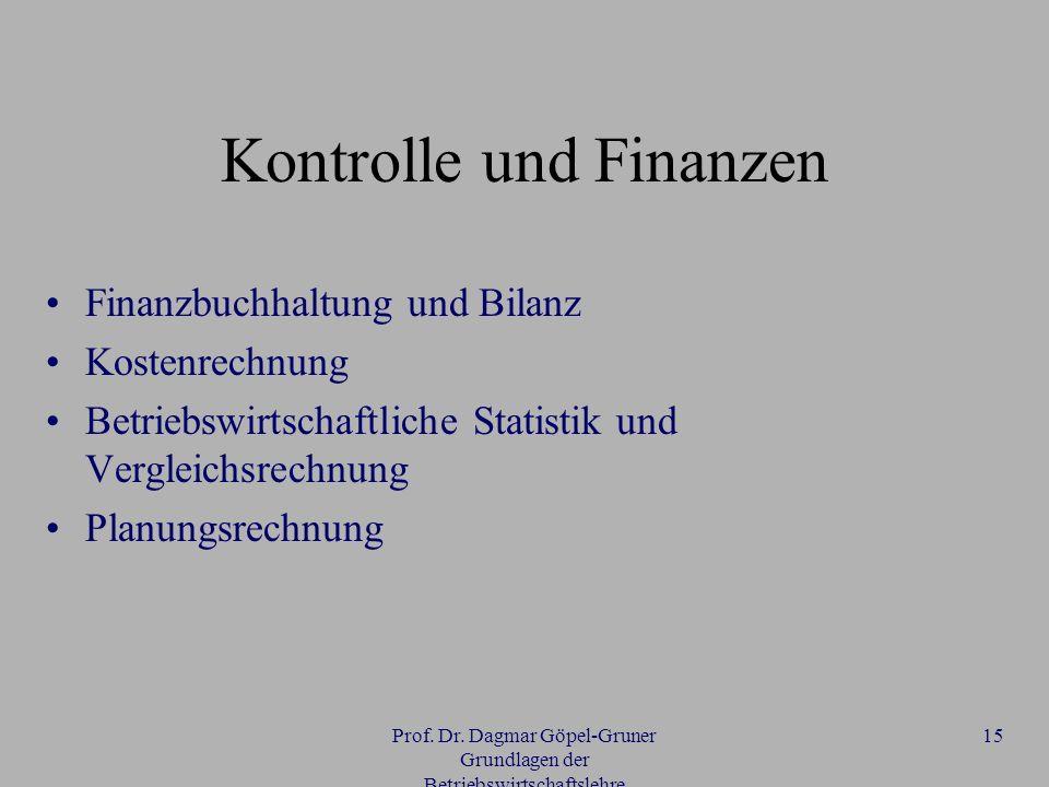 Prof. Dr. Dagmar Göpel-Gruner Grundlagen der Betriebswirtschaftslehre 15 Kontrolle und Finanzen Finanzbuchhaltung und Bilanz Kostenrechnung Betriebswi