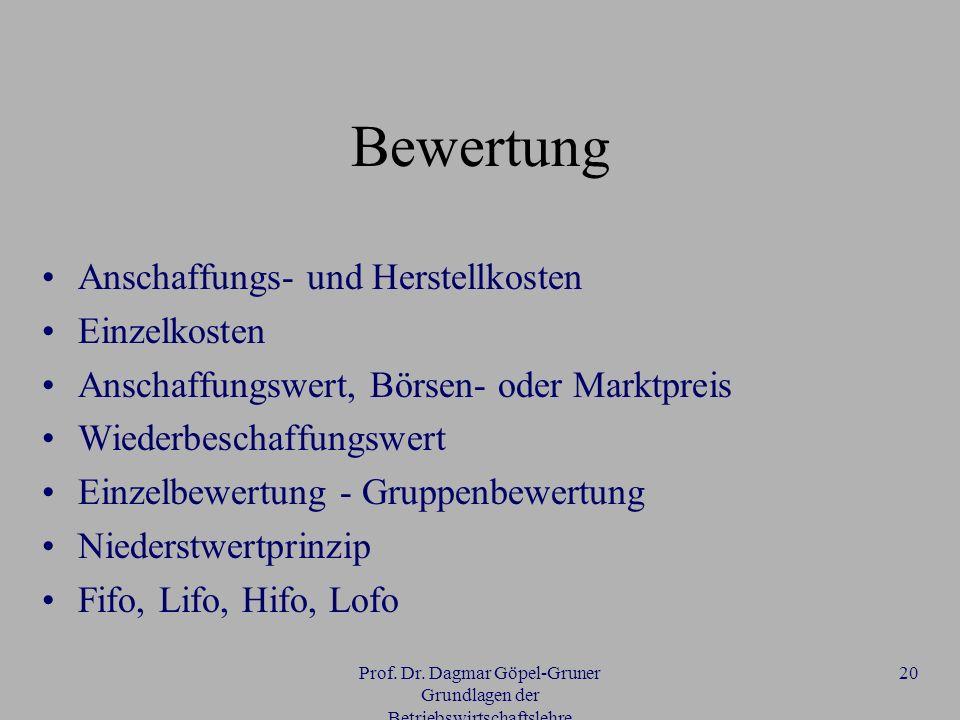 Prof. Dr. Dagmar Göpel-Gruner Grundlagen der Betriebswirtschaftslehre 20 Bewertung Anschaffungs- und Herstellkosten Einzelkosten Anschaffungswert, Bör