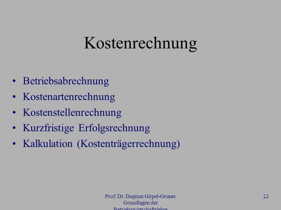 Prof. Dr. Dagmar Göpel-Gruner Grundlagen der Betriebswirtschaftslehre 22 Kostenrechnung Betriebsabrechnung Kostenartenrechnung Kostenstellenrechnung K