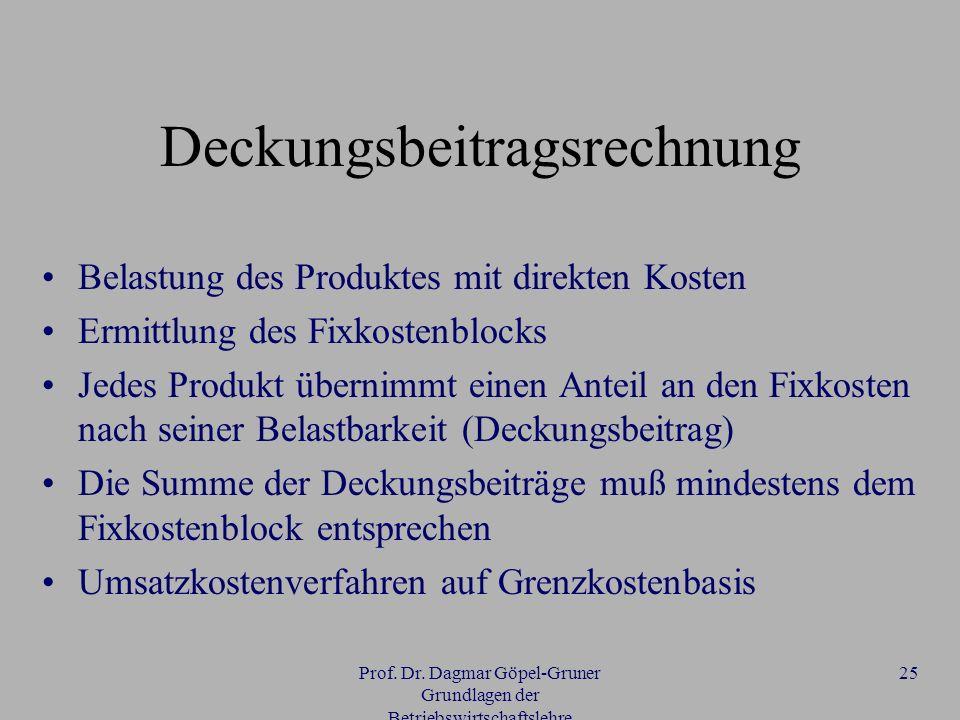 Prof. Dr. Dagmar Göpel-Gruner Grundlagen der Betriebswirtschaftslehre 25 Deckungsbeitragsrechnung Belastung des Produktes mit direkten Kosten Ermittlu