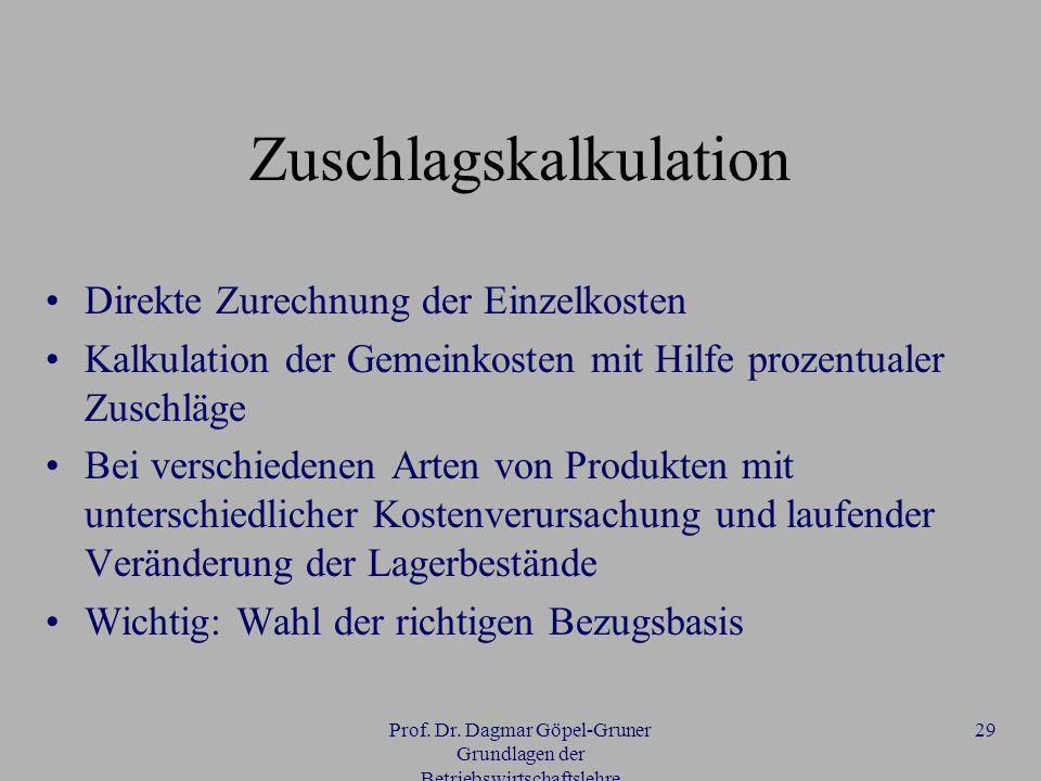 Prof. Dr. Dagmar Göpel-Gruner Grundlagen der Betriebswirtschaftslehre 29 Zuschlagskalkulation Direkte Zurechnung der Einzelkosten Kalkulation der Geme
