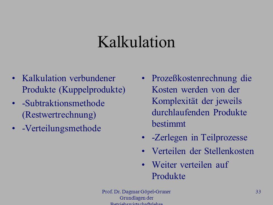 Prof. Dr. Dagmar Göpel-Gruner Grundlagen der Betriebswirtschaftslehre 33 Kalkulation Kalkulation verbundener Produkte (Kuppelprodukte) -Subtraktionsme