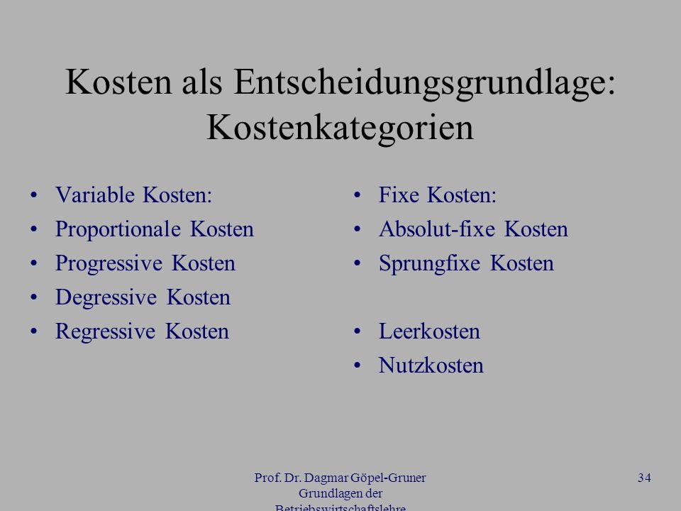 Prof. Dr. Dagmar Göpel-Gruner Grundlagen der Betriebswirtschaftslehre 34 Kosten als Entscheidungsgrundlage: Kostenkategorien Variable Kosten: Proporti